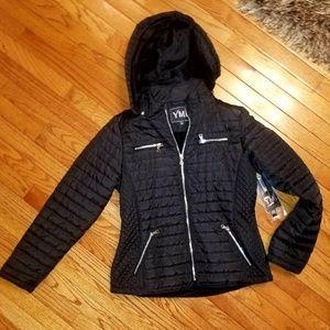 YMI Black Puffer Jacket with detachable hoody.